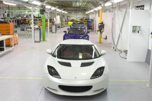 Press shot of the Evora production line